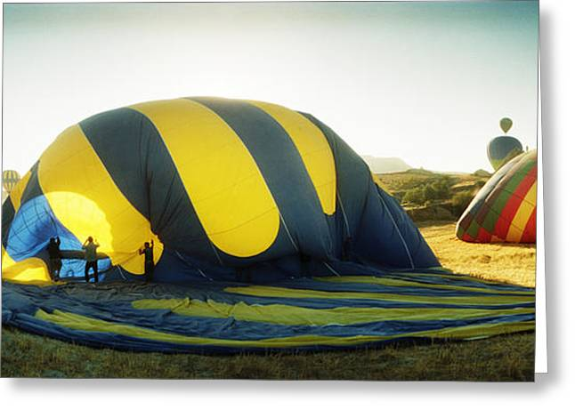 Mid-air Greeting Cards - Hot Air Balloon Being Deflated Greeting Card by Panoramic Images
