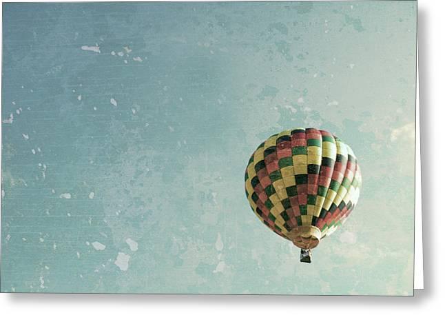 Floating Girl Greeting Cards - Hot Air Balloon  Greeting Card by Brooke Ryan