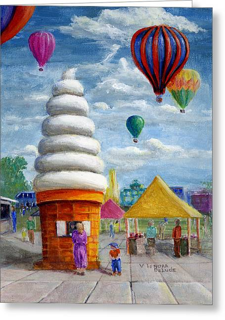 Fanciful Paintings Greeting Cards - Hot Air Balloon Carnival and Giant Ice Cream Cone Greeting Card by Lenora  De Lude