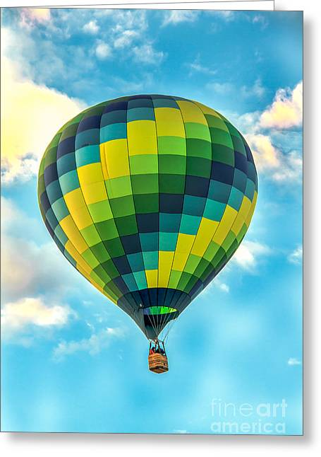 Hot Air Balloon Checkerboard Greeting Card by Robert Bales
