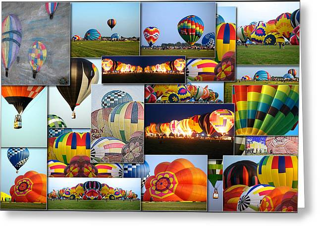 Coller Greeting Cards - Hot Air Balloon Collage Rectangle Greeting Card by Thomas Woolworth