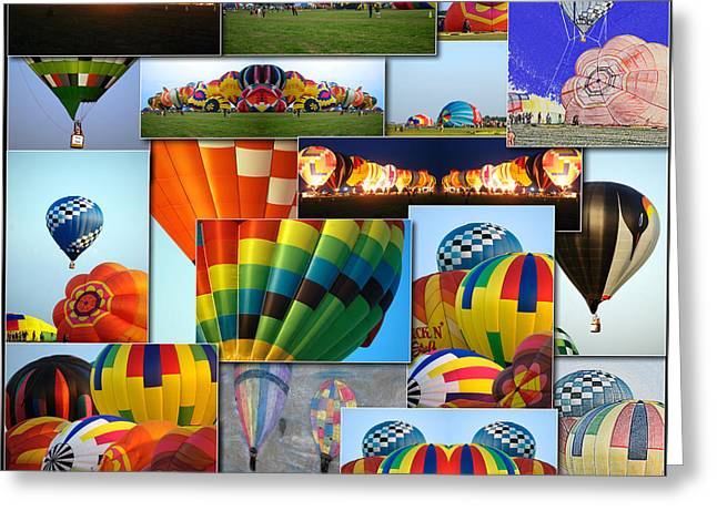 Coller Greeting Cards - Hot Air Balloon Collage Square Greeting Card by Thomas Woolworth