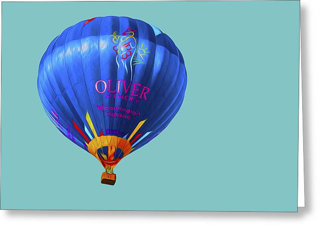 Ascending Risen Greeting Cards - Hot AIr Balloon Digitally Painted 3 Greeting Card by David Haskett