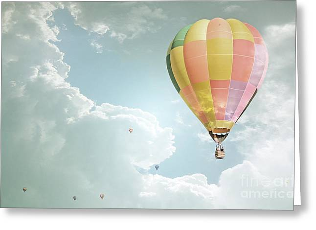 Balloon Fiesta Greeting Cards - Hot Air Balloon Enchanted Clouds Greeting Card by Andrea Hazel Ihlefeld