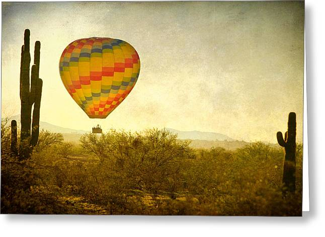 Balloon Art Print Greeting Cards - Hot Air Balloon Flight over the Southwest Desert Fine Art Print  Greeting Card by James BO  Insogna