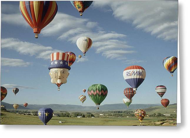 Hot Air Balloon Greeting Card by Jim Steinberg