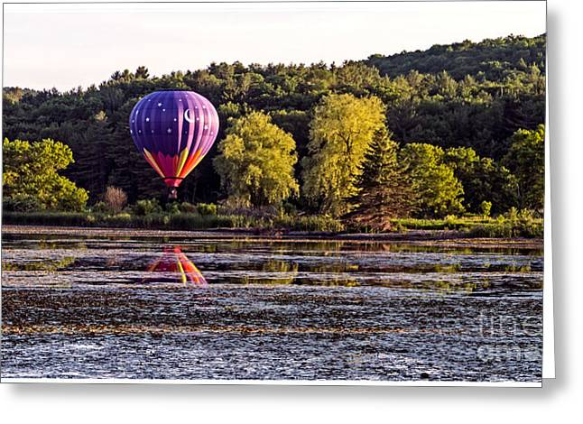 Balloon Greeting Cards - Hot Air Balloon over Pond Greeting Card by Edward Fielding