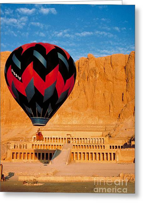 Hatchepsut Greeting Cards - Hot air Balloon Over Thebes Temple Greeting Card by John G Ross
