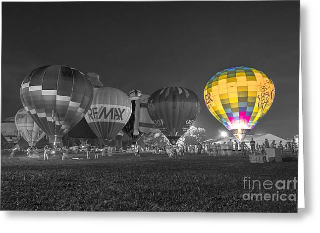 Ascending Risen Greeting Cards - Hot Air Balloon OW Color Greeting Card by David Haskett