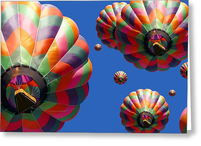 """hot Air Balloon"" Greeting Cards - Hot Air Balloon Panoramic Greeting Card by Edward Fielding"