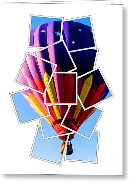Balloon Greeting Cards - Hot Air Balloon Polaroid Greeting Card by Edward Fielding