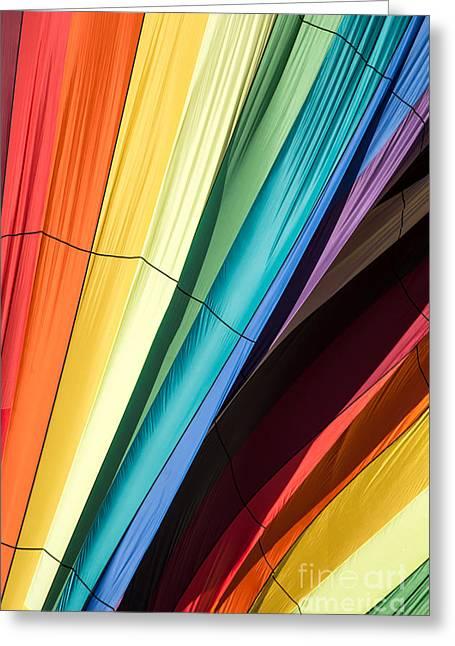 Quechee Greeting Cards - Hot Air Balloon Rainbow Greeting Card by Edward Fielding