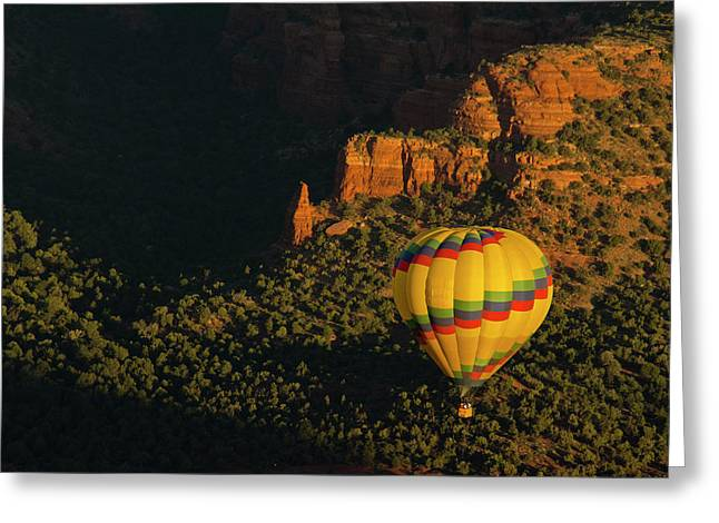 Hot Air Balloon, Red Rock, Coconino Greeting Card by Michel Hersen