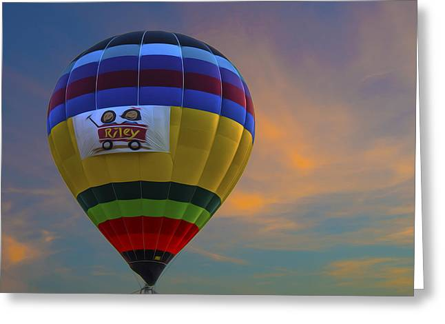 Ascending Risen Greeting Cards - Hot Air Balloon Riley Sunset Digitally Painted Greeting Card by David Haskett