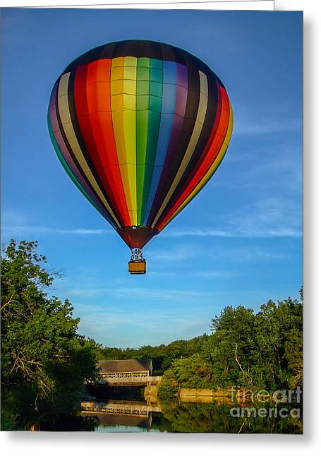 New England Landscape Greeting Cards - Hot Air Balloon Woodstock Vermont Greeting Card by Edward Fielding