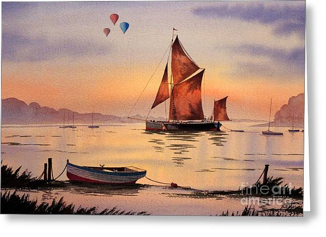 Flyer Paintings Greeting Cards - Hot Air Ballooning Greeting Card by Bill Holkham