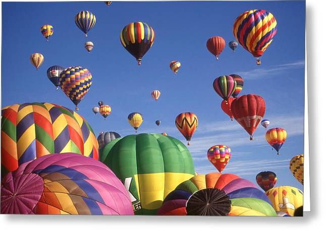 America Greeting Cards - Hot Air Balloons - Albuquerque Color Photo Greeting Card by Peter Fine Art Gallery  - Paintings Photos Digital Art