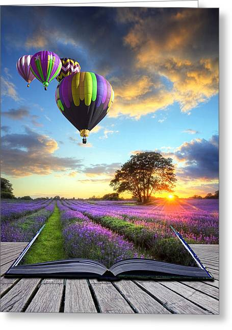 Make Believe Greeting Cards - Hot air balloons and lavender book Greeting Card by Matthew Gibson