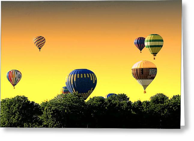 Helium Greeting Cards - Hot Air Balloons At Sunset  Greeting Card by Geraldine Scull