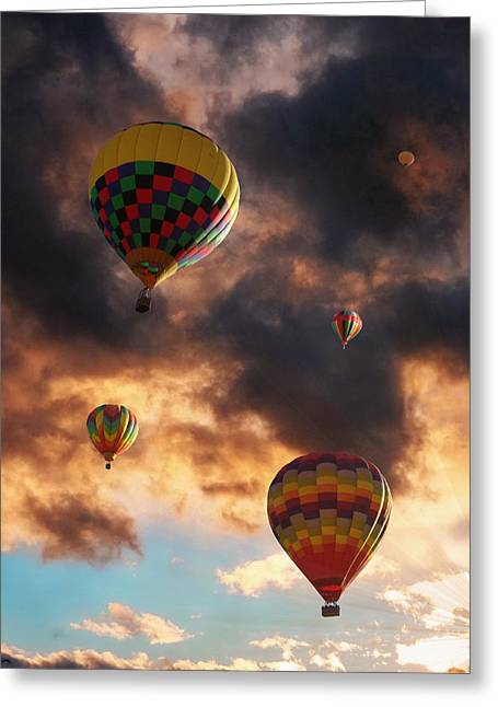 Wishes Greeting Cards - Hot Air Balloons - Chasing The Horizon Greeting Card by Glenn McCarthy