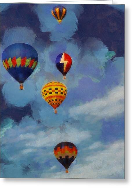 Photography Lightning Paintings Greeting Cards - Hot Air Balloons Greeting Card by Dan Sproul