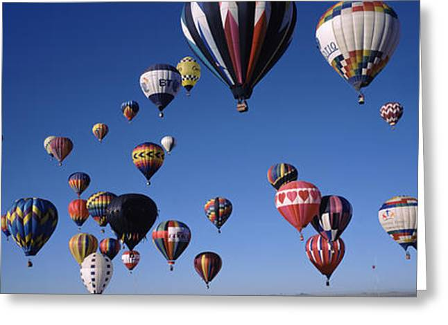 Mid-air Greeting Cards - Hot Air Balloons Floating In Sky Greeting Card by Panoramic Images