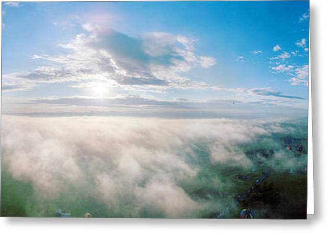 Adirondack Mountains Greeting Cards - Hot Air Balloons Flying Over Mountain Greeting Card by Panoramic Images