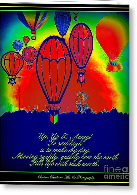 Graphics Framed Prints Greeting Cards - Hot Air Balloons Inspiration Greeting Card by Bobbee Rickard