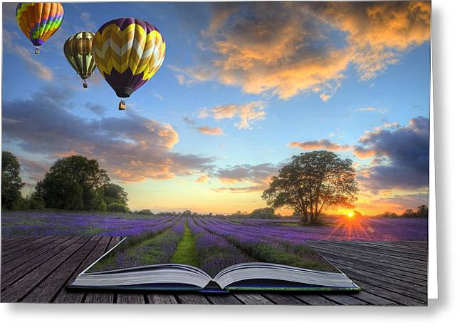 Wellbeing Greeting Cards - Hot air balloons lavender landscape magic book pages Greeting Card by Matthew Gibson