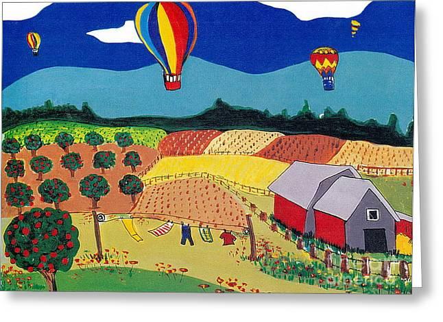 Naive Greeting Cards - Hot Air Balloons over Farmland Greeting Card by Joyce Gebauer