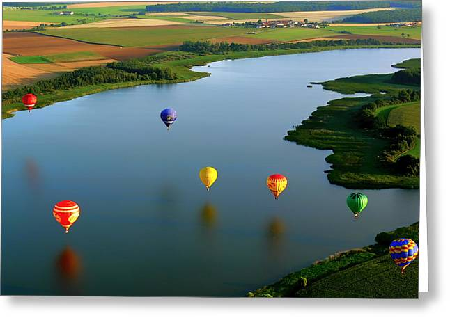 Shore Excursion Greeting Cards - Hot Air Balloons over France Greeting Card by Mountain Dreams