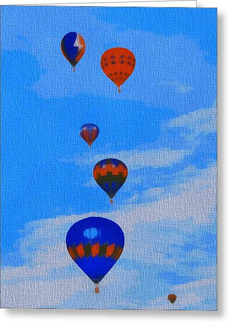 Hot Mixed Media Greeting Cards - Hot Air Balloons Pop Art Greeting Card by Dan Sproul