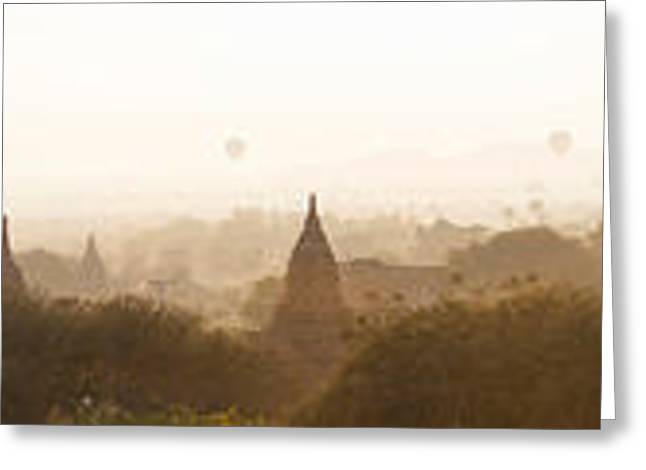 Mid-air Greeting Cards - Hot Air Balloons Rise Above The Ancient Greeting Card by Panoramic Images