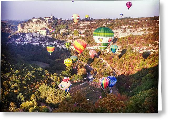 Midi Greeting Cards - Hot Air Balloons Rocamadour Greeting Card by Colin and Linda McKie