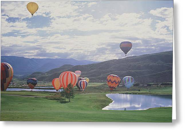 Overcast Day Greeting Cards - Hot Air Balloons, Snowmass, Colorado Greeting Card by Panoramic Images