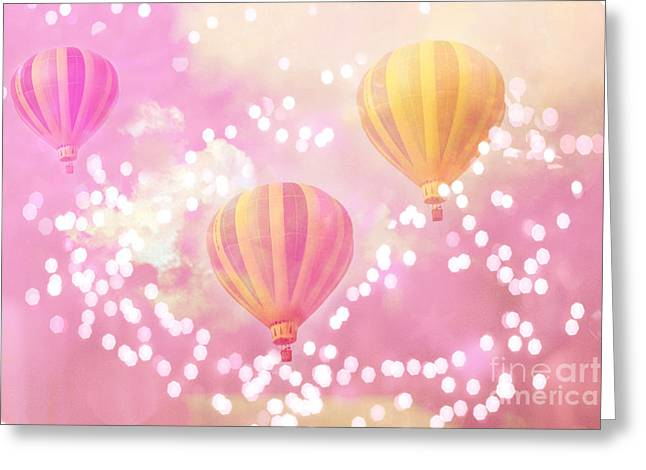 Hot Pink Ferris Wheel Photos Greeting Cards - Hot Air Balloons Surreal Dreamy Baby Pink Yellow Hot Air Balloon Art - Child Baby Nursery Room Art Greeting Card by Kathy Fornal
