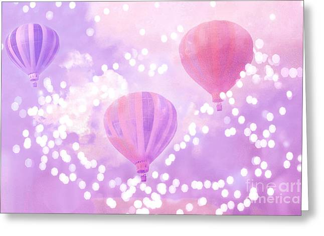 Surreal Dreamy Hot Air Balloons Lavender Purple Carnival Festival Art - Child Baby Girl Nursery Art Greeting Card by Kathy Fornal