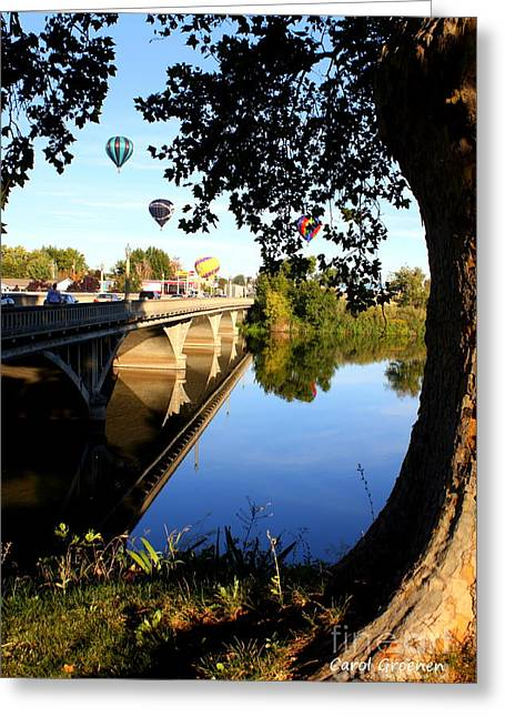 Yakima Valley Greeting Cards - Hot Air Balloons through Tree Greeting Card by Carol Groenen