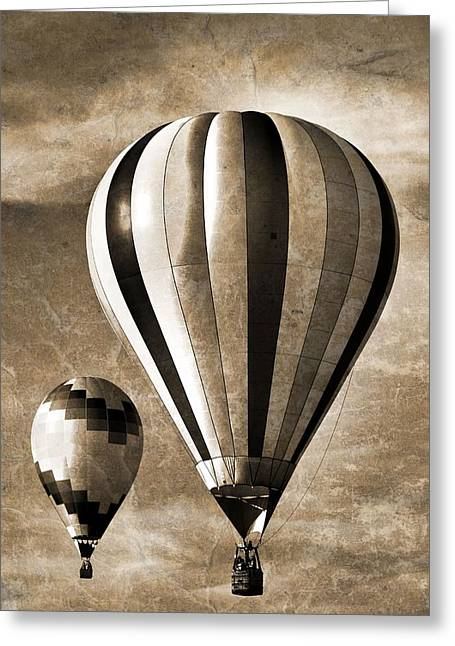 Height Mixed Media Greeting Cards - Hot Air Balloons Vintage Greeting Card by Dan Sproul