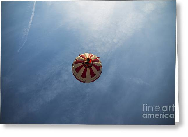 Ascending Risen Greeting Cards - Hot Air Space Balloon Greeting Card by David Haskett