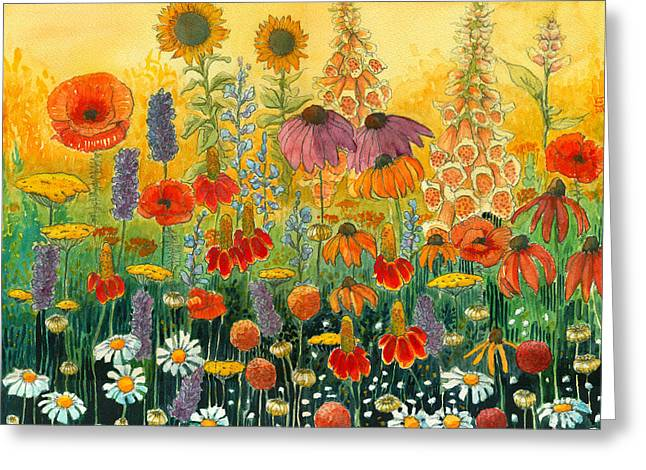 Indiana Flowers Paintings Greeting Cards - Hot and Hazy Greeting Card by Katherine Miller