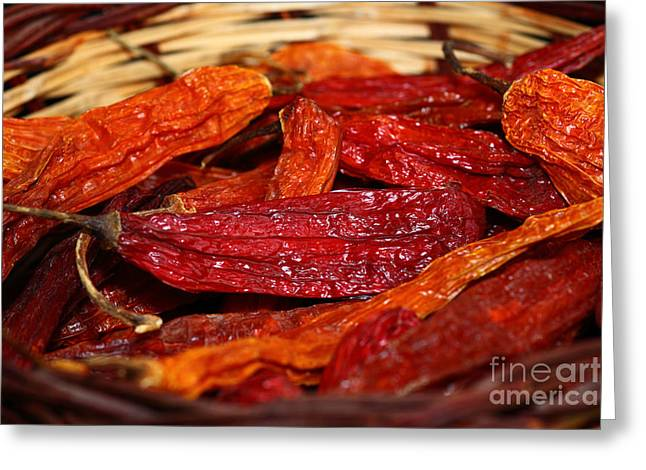 Chilies Greeting Cards - Hot and Spicy Greeting Card by James Brunker