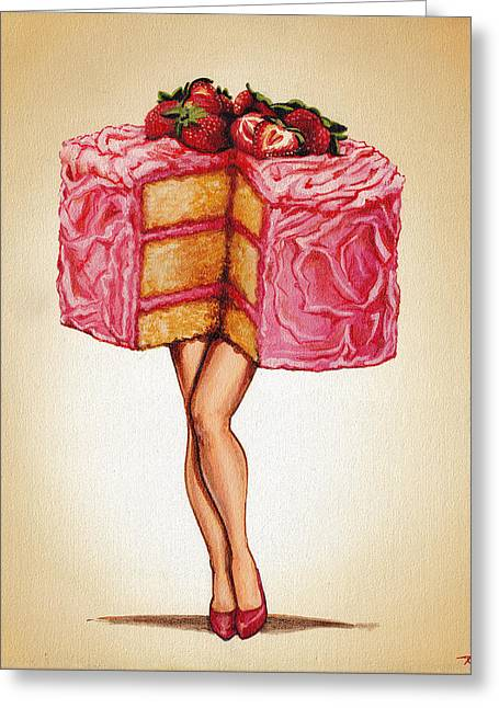 Strawberry Paintings Greeting Cards - Hot Cakes Greeting Card by Kelly Gilleran