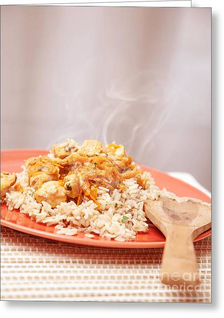 Basmati Greeting Cards - Hot chicken meal with rice  Greeting Card by Anna Omelchenko