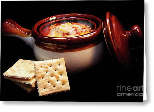 Orange And Brown Designs Greeting Cards - Hot Chili with Cheese and Crackers Greeting Card by Andee Design