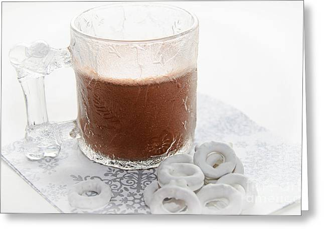 Hot Cocoa Greeting Cards - Hot Chocolate And Candy Coated Pretzels Greeting Card by Andee Design