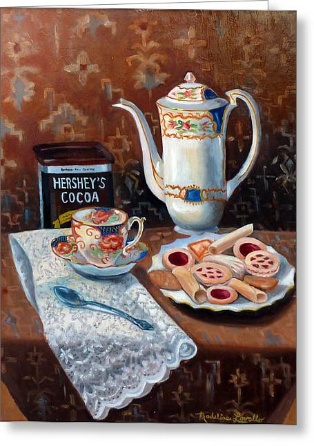 Plate Of Cookies Greeting Cards - Hot Chocolate Pot Greeting Card by Madeline  Lovallo