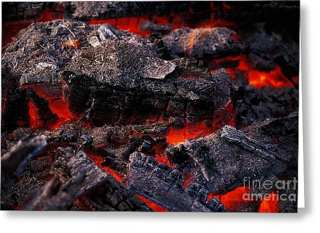Fire Wood Greeting Cards - Hot Coals Greeting Card by Ron Sanford