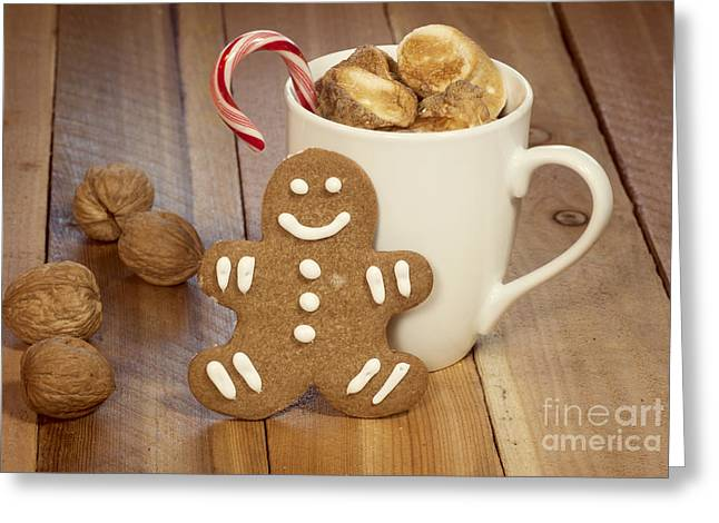 Hot Cocoa And Gingerbread Cookie Greeting Card by Juli Scalzi