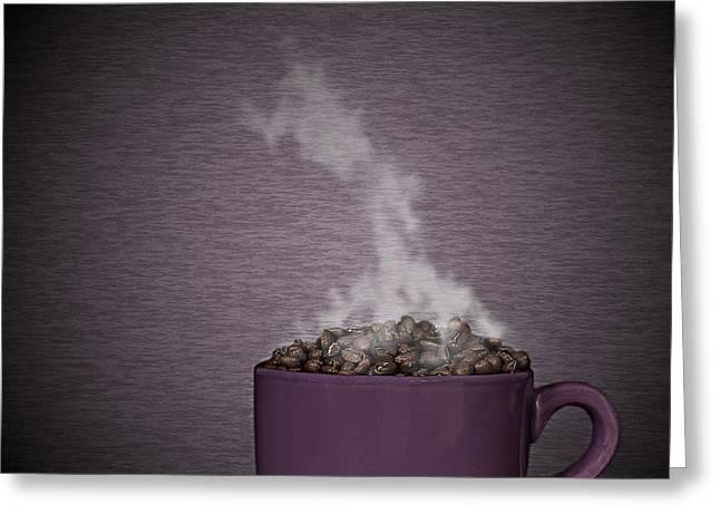 Smoke Art Greeting Cards - Hot Coffee Greeting Card by Gert Lavsen
